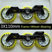 Скорость Роликовые коньки рамка 3X110 мм роллеров базы ILQ-9 подшипник 110 мм Прочный PU катание колеса Родас несбалансированного спереди сзади
