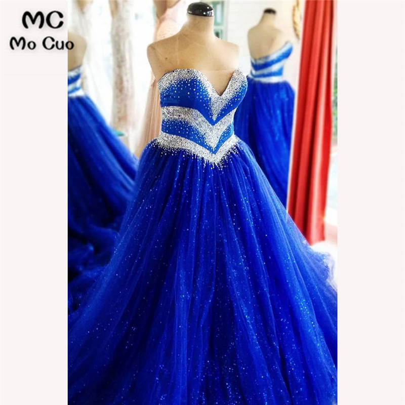 2018 Elegant Royer Blue   Prom     dresses   Long with Beaded Sweetheart Organza   dress   for graduation Organza Formal Evening   Prom     Dress