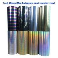 Free shipping 1 roll 25cmx25m hologram Heat Transfer Vinyl Camouflage Rainbow Metallic & Laser Iron on Film HTV T shirt