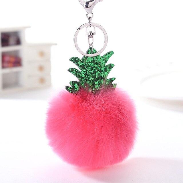 Natal Fluffy Faux Fur Bola Pompom Chaveiro Mulheres Saco Árvore de Natal Abacaxi Prata Cadeias Chaveiro Bugiganga Anel Chave Do Carro