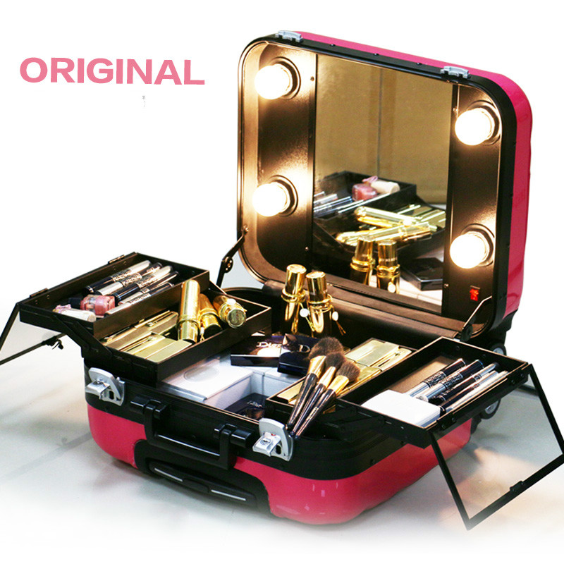 2017 Good Quality Hardside Cosmetic Bag Women Travel Makeup Bags With Light New Colors Abs Trolley Suitcase Mirror In Cases From