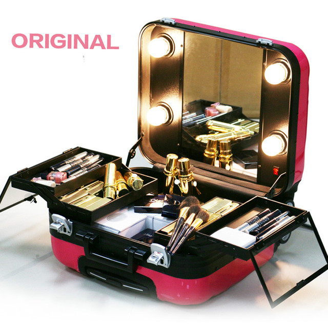 2017 Good Quality Hardside Cosmetic Bag Women Travel Makeup Bags With Light New Colors Abs Trolley