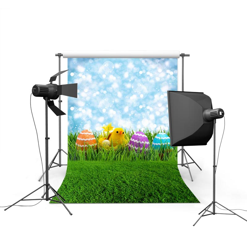 2017 new spring easter photography backdrops sky grass land eggs new born baby children photographic background Easter Day P1211