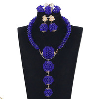 New Royal Blue African Wedding Beads Necklace Set Nigerian Women Costume Jewellery Set Bridal Bead Party Jewelry Gift JB062