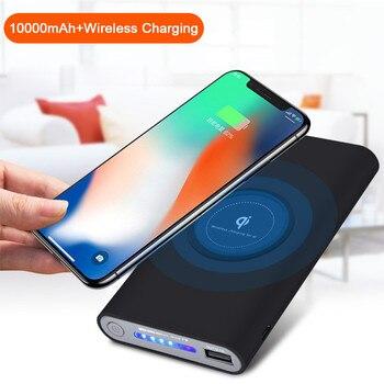 Qi bezprzewodowa ładowarka 10000 mAh banku mocy dla iPhone X 8 Plus Samsung uwaga 8 S9 S8 Plus S7 przenośny powerbank