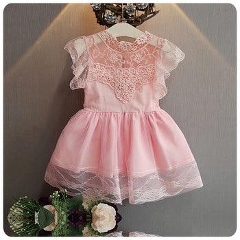 2016 Korean Summer New Pattern Children's Garment Girl Baby Lace Yarn Dress Girl Six One Princess Full Dress