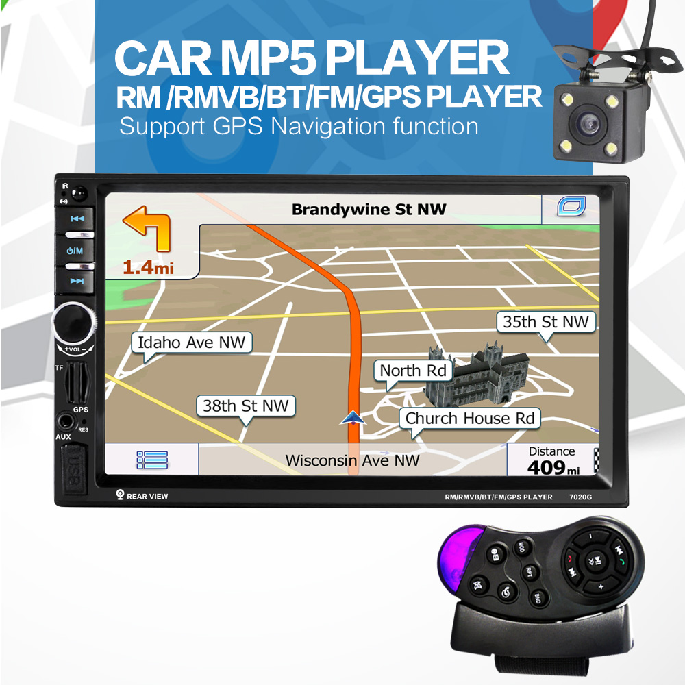 12V 7'' 2 Din Bluetooth Car Stereo MP5 Player GPS Navigation Support Mirror Link with Rear View Camera & Steering Wheel Control