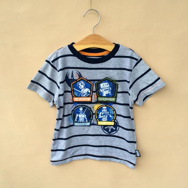 2016 star wars kids boy striped t shirt short sleeve summer tee 4-13 years