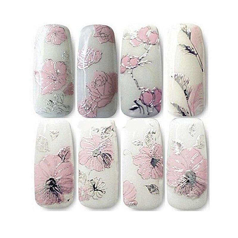 1 Sheets 3D Design Beautiful Pink Flower Nail Art Nail Sticker Nails Decal Nail Tools