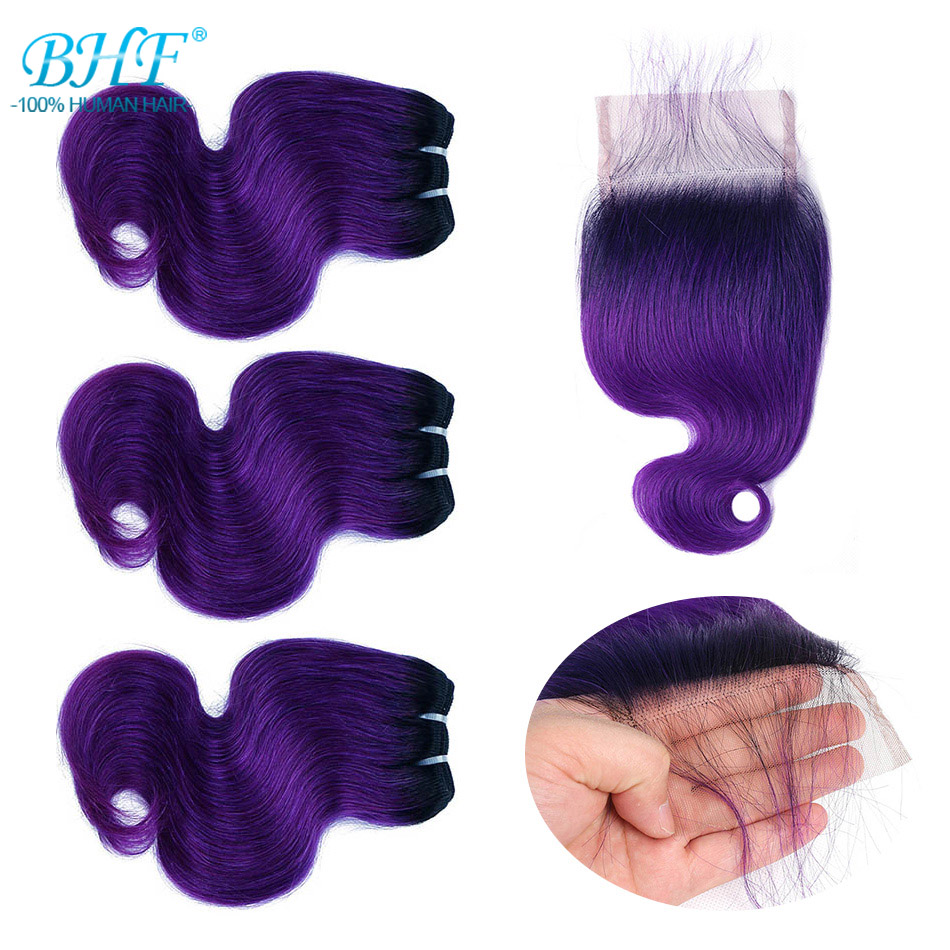 Image 5 - BHF 100% Human Hair Body Wave 3pcs lot With Closure Non remy 8inch 50g/pack Hair Extensions-in 3/4 Bundles with Closure from Hair Extensions & Wigs