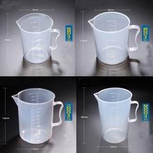 1set (250ml,500ml,1000ml,2000ml) Plastic beaker with handle Measuring Cup Food Grade PP School laboratory Kitchen Supplies цена и фото