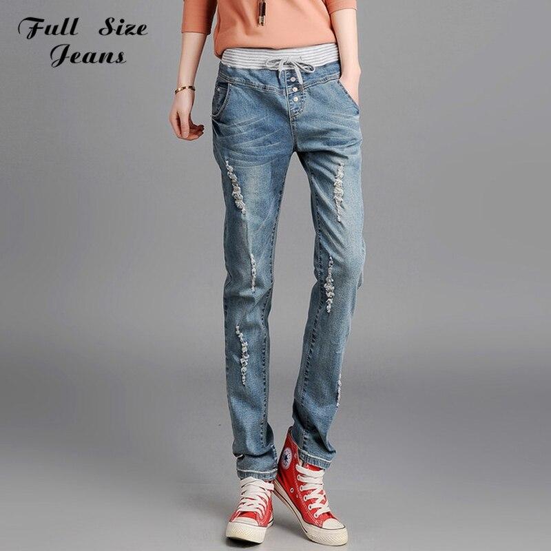 ФОТО Retro Vintage Elastic Waist Long Pants  Distressed Jeans Brand Girlfriend Plus Size Ripped Feminino Jeans Woman4XLXXXL XS 38 40