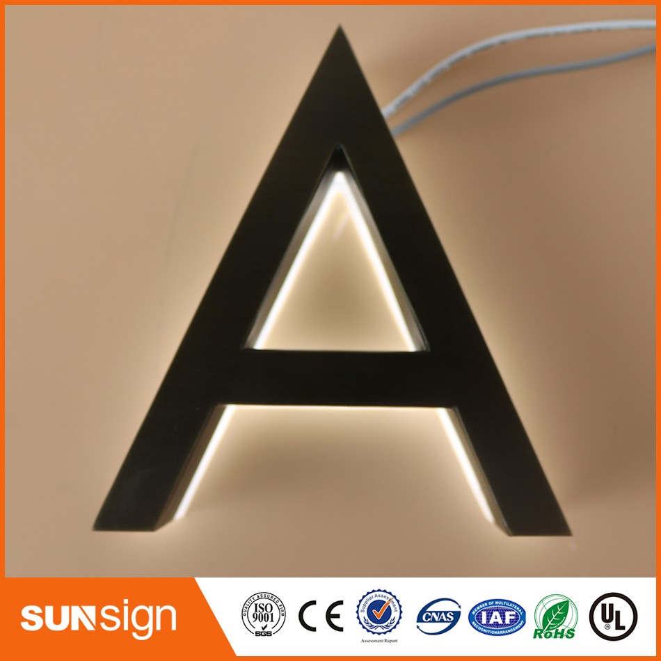 Steel Letters For Signs Amusing Custom 3D Led Backlit Brushed Stainless Steel Letters Business 2018