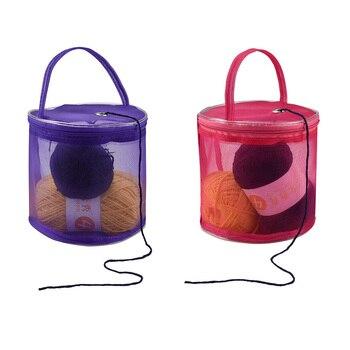 bosque Coopay Bolsa de tejer bolsa de ganchillo para proyectos de tejer bolsas de punto para almacenamiento de lana y agujas,hilo con bolsillo para accesorios,organizadores de tejer manualidades