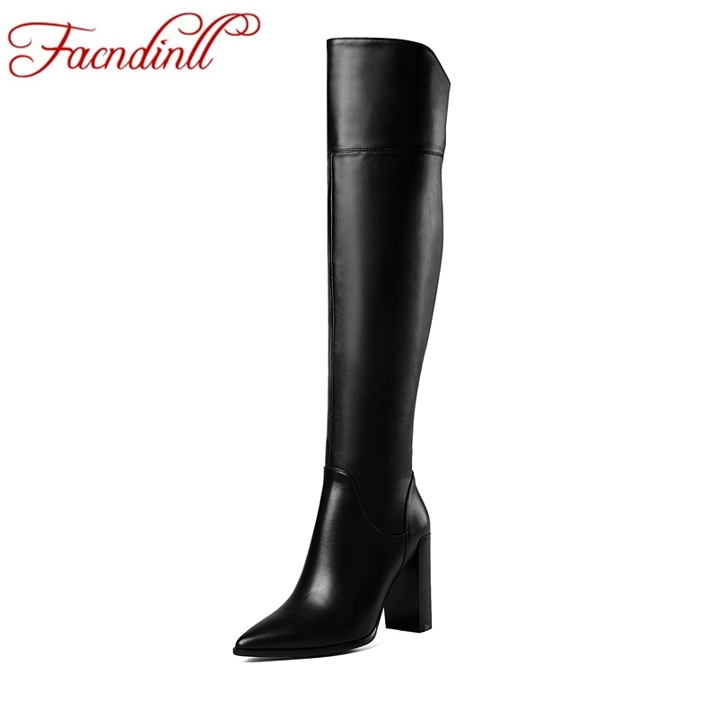 цена FACNDINLL new genuine leather women over the knee high boots high heel;s pointed toe zipper shoes woman riding boots black beige