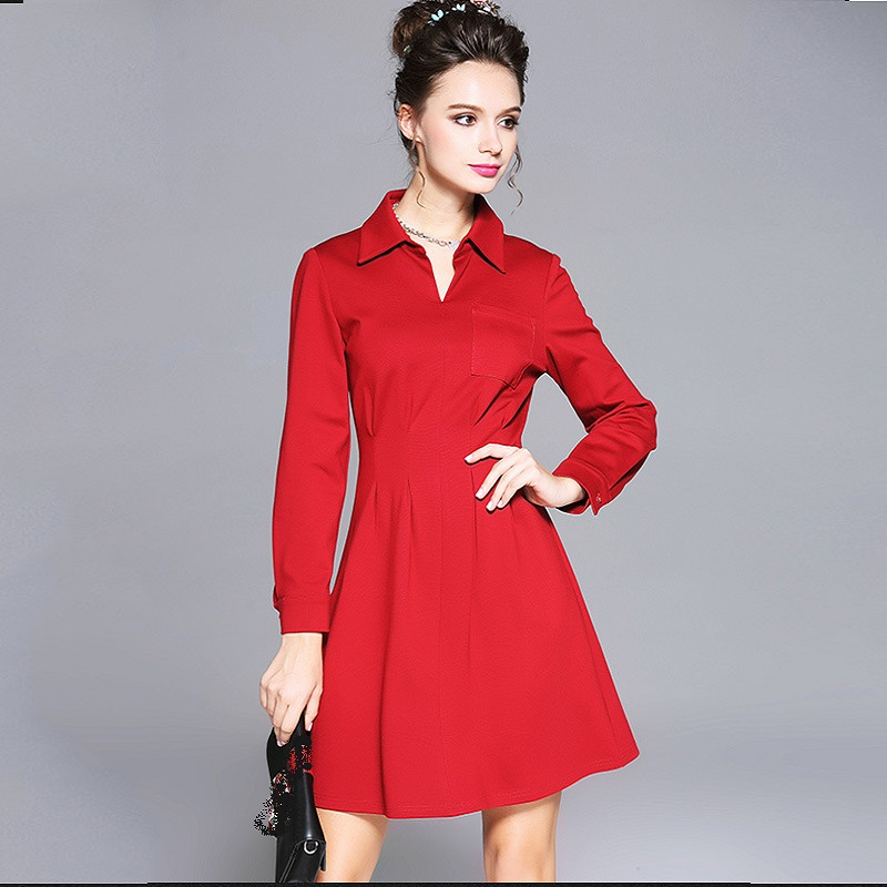 New2017Autumn Winter Ladies Plus size elegant Dress turn down collar pinched waist cultivating casual vestidos M-XXXXXL 5XL6098