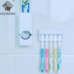 Image 5 - 1set Automatische Zahnpasta Spender Zahnbürste Halter Wand Halterung Zahn pinsel Lagerung Rack Organizer Badezimmer Zubehör Set
