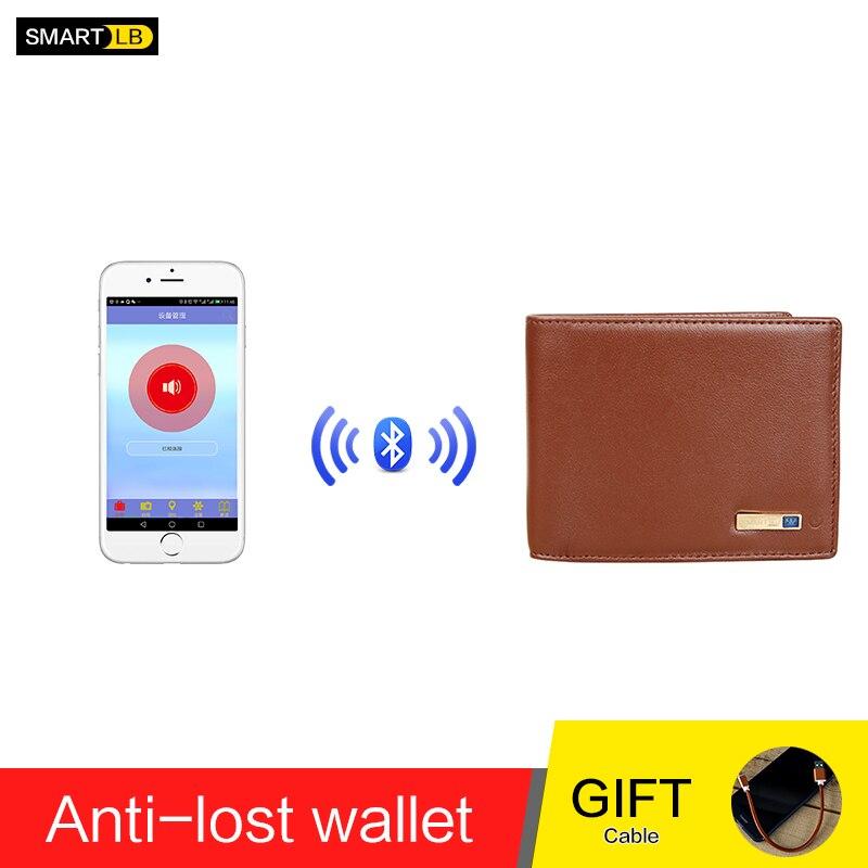 Men Genuine Leather Anti Lost Intelligent Bluetooth Smart GPS Wallet Purse Male Card Holders Card Case Suit