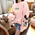 3xl sweatshirts women spring autumn winter 2017 bermuda feminina mickey pink loose long sleeve fleece sweatshirts female A1419