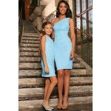 Женское, детское, эластичное, кружевное мини-платье без рукавов на одно плечо для мамы и дочки