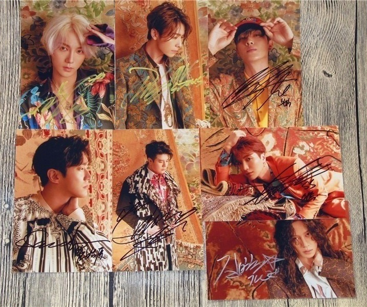 Signé S.J Super Junior groupe autographiée photo reconditionner 6 pouces 7 photos ensemble freeshipping K-POP 042017A
