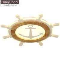 Qiseyuncai скандинавские простые круглые потолочные лампы для детской комнаты, гостиная, кабинет, комната для мужчин и девочек, твердые деревянн