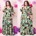 2017 Fashion Brand Women Dress Floor Length Party Vestidos Three Quarter Print A Line Deep V Neck Oversized 6XL Maxi Dresses