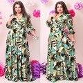 2017 marca de moda las mujeres dress vestidos de fiesta hasta el suelo three trimestre Imprimir Una Línea de Cuello En V Profundo Maxi de Gran Tamaño 6XL vestidos