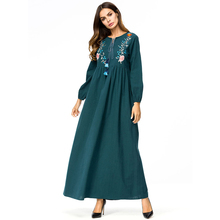 Elegant Embroidery Long Dress Muslim Abaya Chic Floral Robes Kimono Loose Ramadan Middle East Arab Islamic Clothing