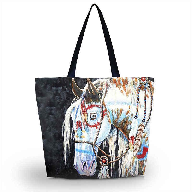 Horse Soft Foldable Tote Women Shopping Bag Beach Tote Shoulder Bag Purse  Handbag Travel School Grocery 47d19aa53caa5