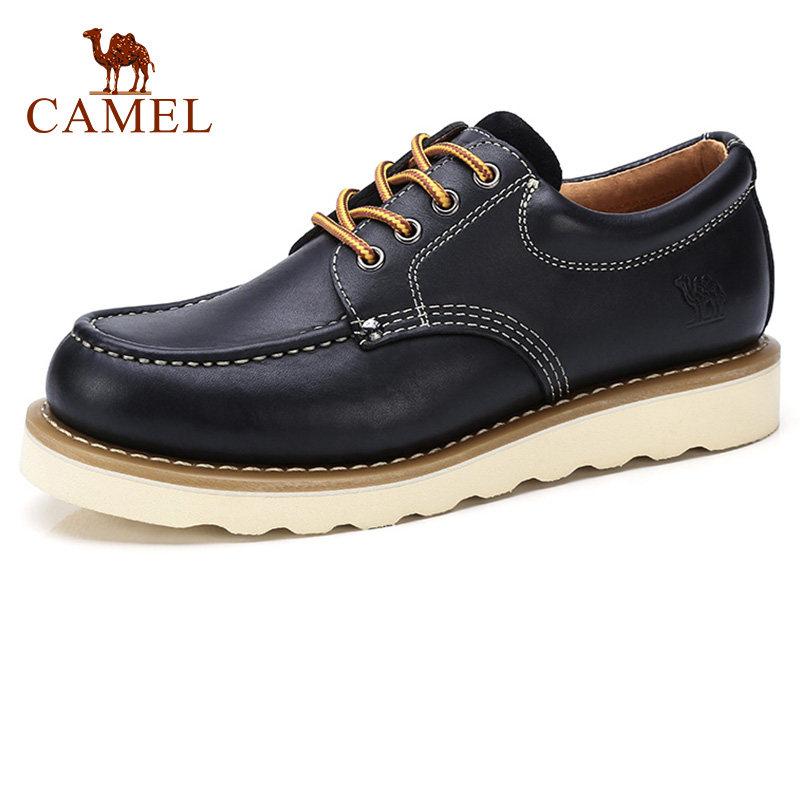 CAMEL Men Shoes Autumn Retro Genuine Leather Tooling Man Casual Thick Bottom Sewing Thread Lace up