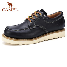 CAMEL Men Shoes Autumn Retro Genuine Leather Tooling Man Casual Thick Bottom Sewing Thread Lace up Footwear