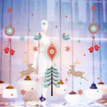 New Year Christmas Decorations Wapiti Pattern PVC Wall Stickers Window Glass Festival Decals Shop Decor 60*90cm