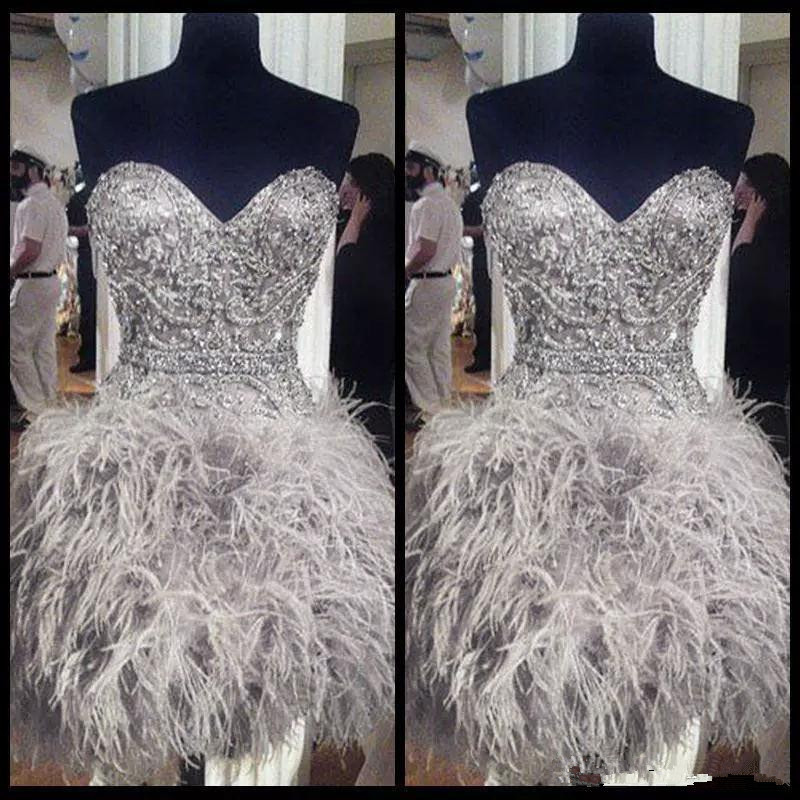 Luxurious 2019   Cocktail     Dresses   Sheath Sweetheart Short Mini Feather Beaded Elegant Party Homecoming   Dresses