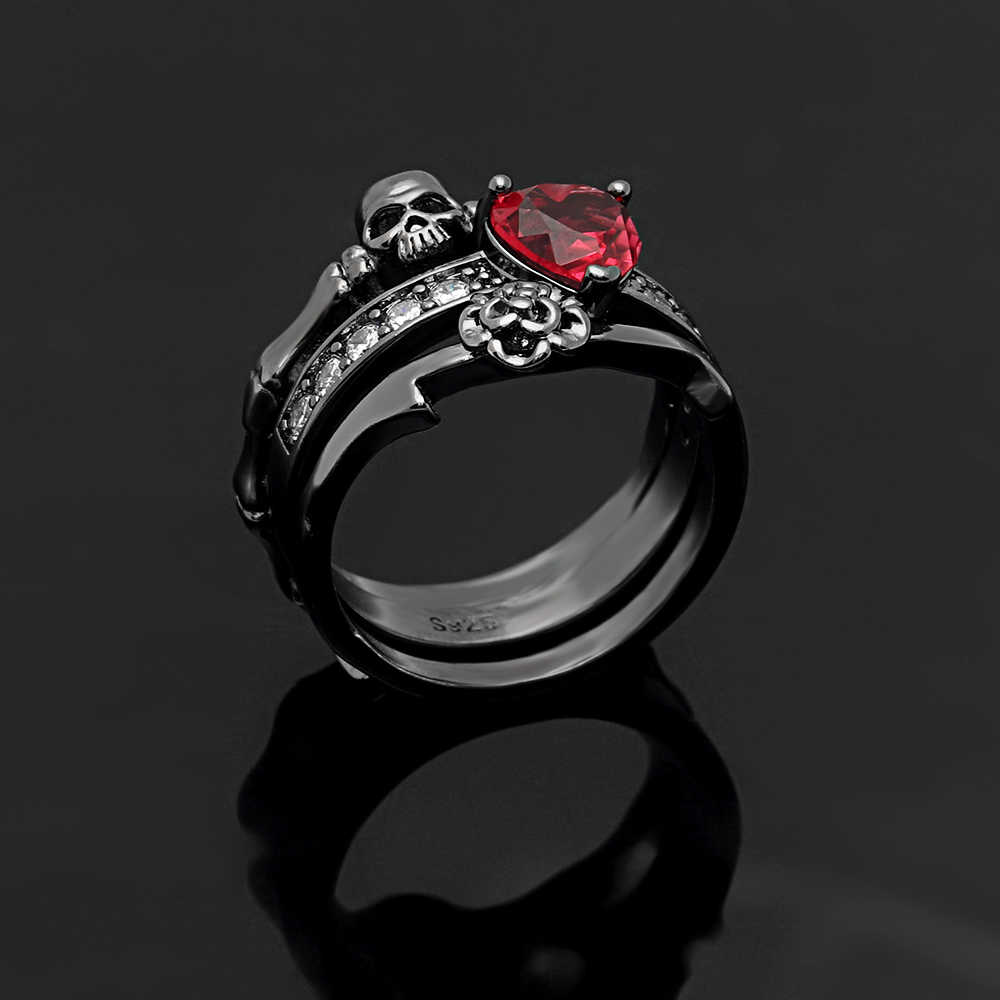 2d6279dd97686f ... Gothic Skull Finger Black Gold Color wedding rings sets For Women Girl  Red Heart CZ Rose ...