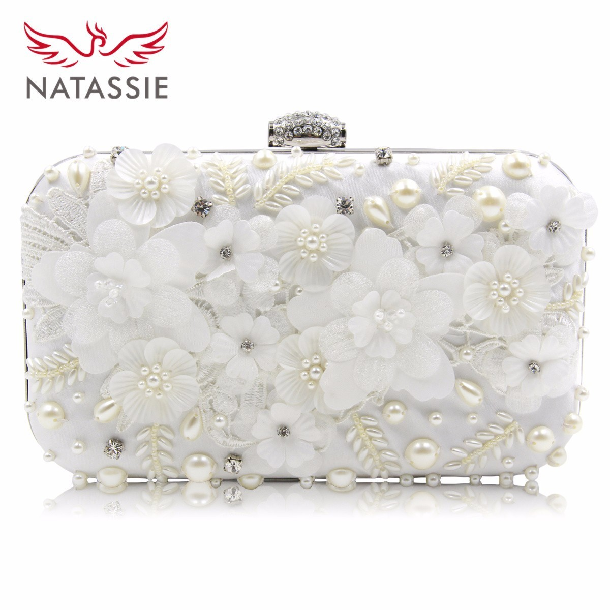 Natassie New Flower Clutch Women Evening Bag Ladies Diamond Alloy Beaded Clutches Female Party Bags Wedding Purse Good Quality natassie 2017 new women clutch bag evening bags hollow out crystal wedding clutches with chain ladies party purse