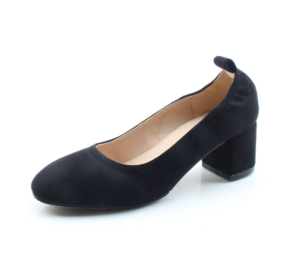 Shoes Women Genuine Leather Fashion Office and Career Rounded Toe 2-inch Block Heel Fashion Office Lady Pumps Size 34-41, K-307 72