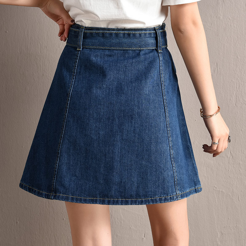 4768b74a0ce Yuxinfeng Women Summer Denim Skirt High Waist Plus Size Belted Sexy Micro Mini  Skirts Female A Line Jeans Skirt Female Clothes-in Skirts from Women s ...