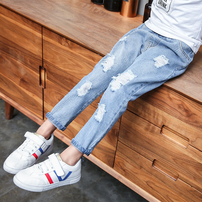 Image 4 - Jeans Baby Girl Cotton Hole Pants Fashion Autumn 2019 Light Blue Trousers Teenage School Girls Clothing Ripped Jeans for KidsJeans   -