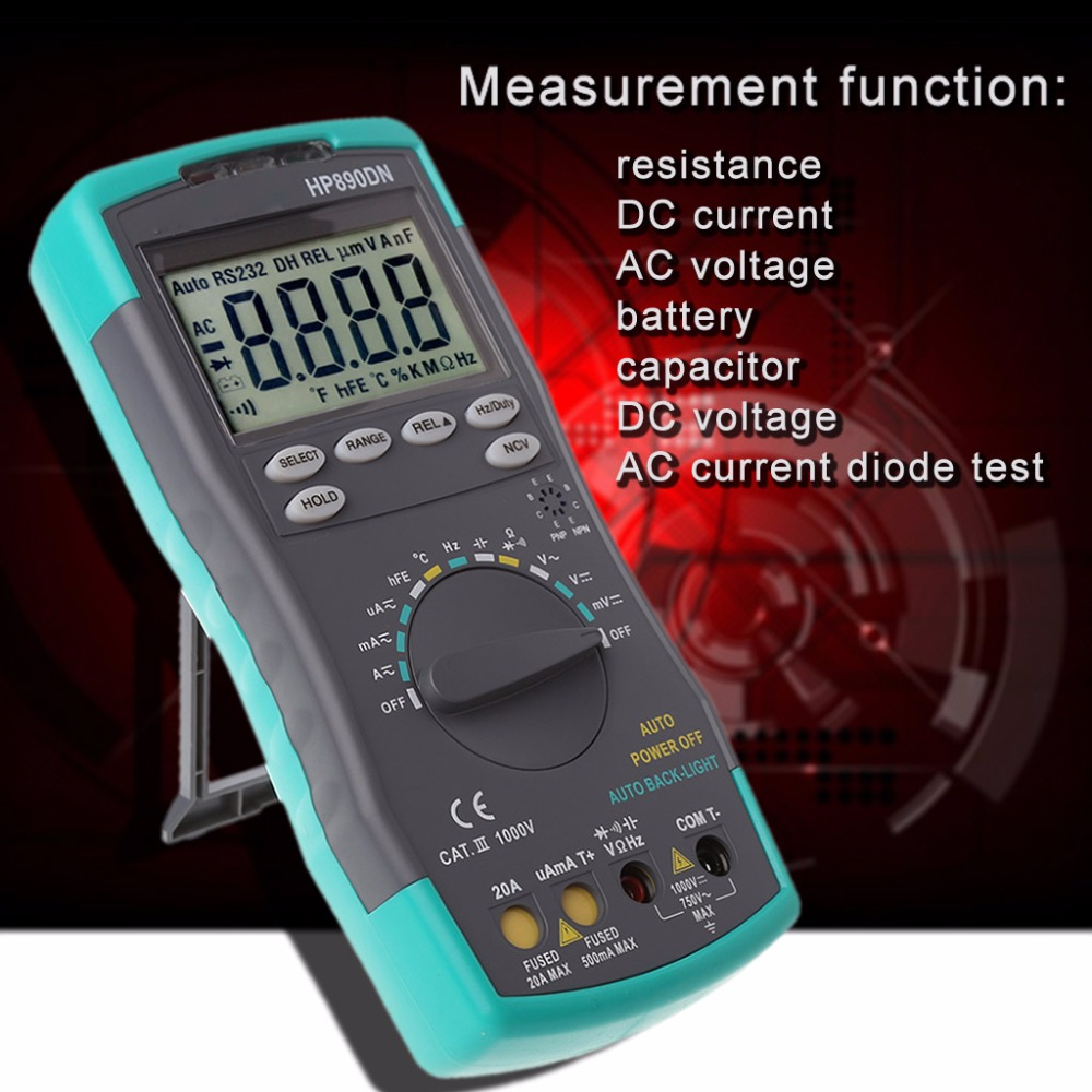 HoldPeak High Reliability Digital Multimeter Meter Amp/Ohm/Volt Tester with Backlight LCD Display Tool New