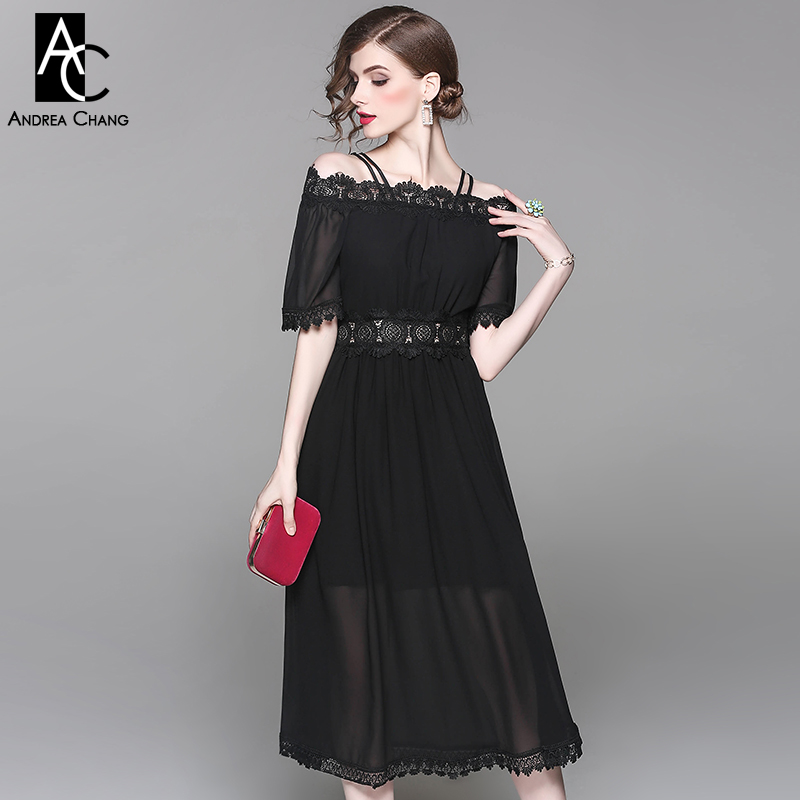 Spring Summer Runway Designer Woman Dress Black White Calf Length