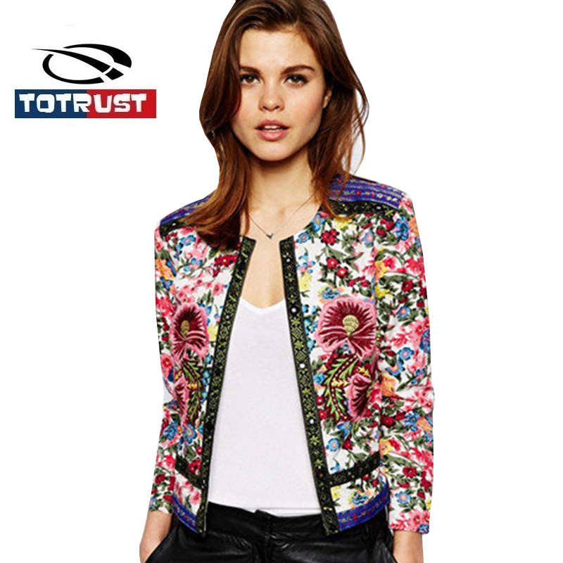 TOTRUST Floral Embroidery   Jacket   Coat Women 2019 New Lady Vintage Thin Padded Cardigan Women Short Coats Outwear   Basic     Jackets