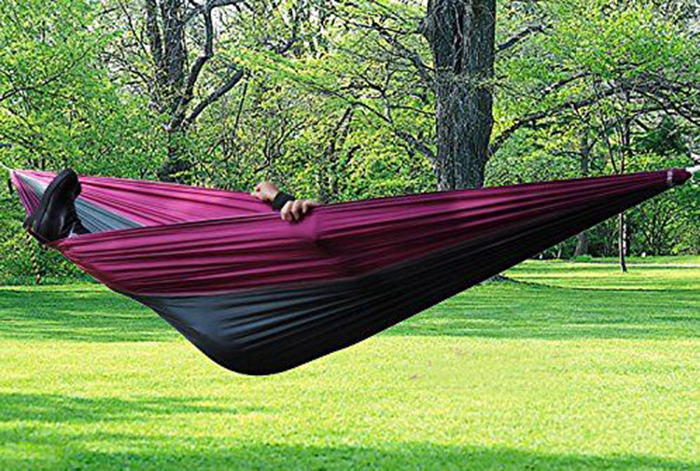 Hot Sale Travel Camping Outdoor Nylon Fabric Hammock Parachute Bed Double Hammock furniture size hanging sleeping bed parachute nylon fabric outdoor camping hammocks double person portable hammock swing bed