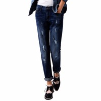 Tengo Women Distressed Jeans Ripped Boyfriend Skinny Elastic Crop Pants Hight Waist Brand Female Harem Pants
