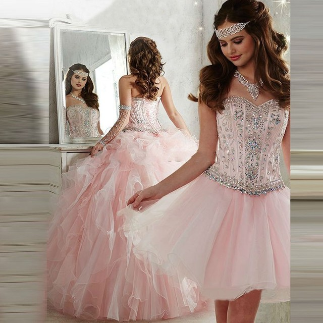 bea2c584c4 Fashion Pink Ball Gown Quinceanera Dresses Luxury Beading Sweet 16 Dresses  Strapless Party Dresses Detachable Skirt Prom Dresses