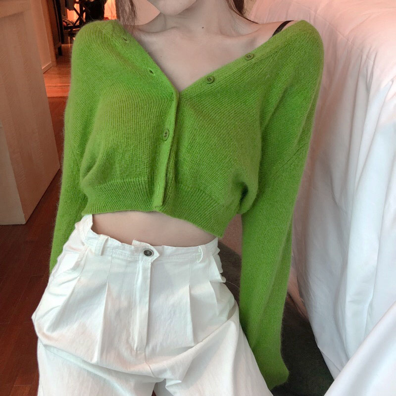 Knitted Sweater Coat Cardigans V-Neck Long-Sleeve Thin Green Casual Womens Solid-Color