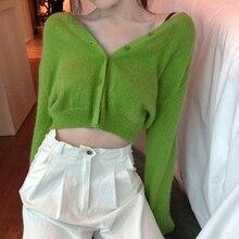 דק סרוג סוודר מעיל ארוך שרוול מזדמן V צוואר מוצק צבע ירוק אפודות נשים (R1274)קרדיגנים