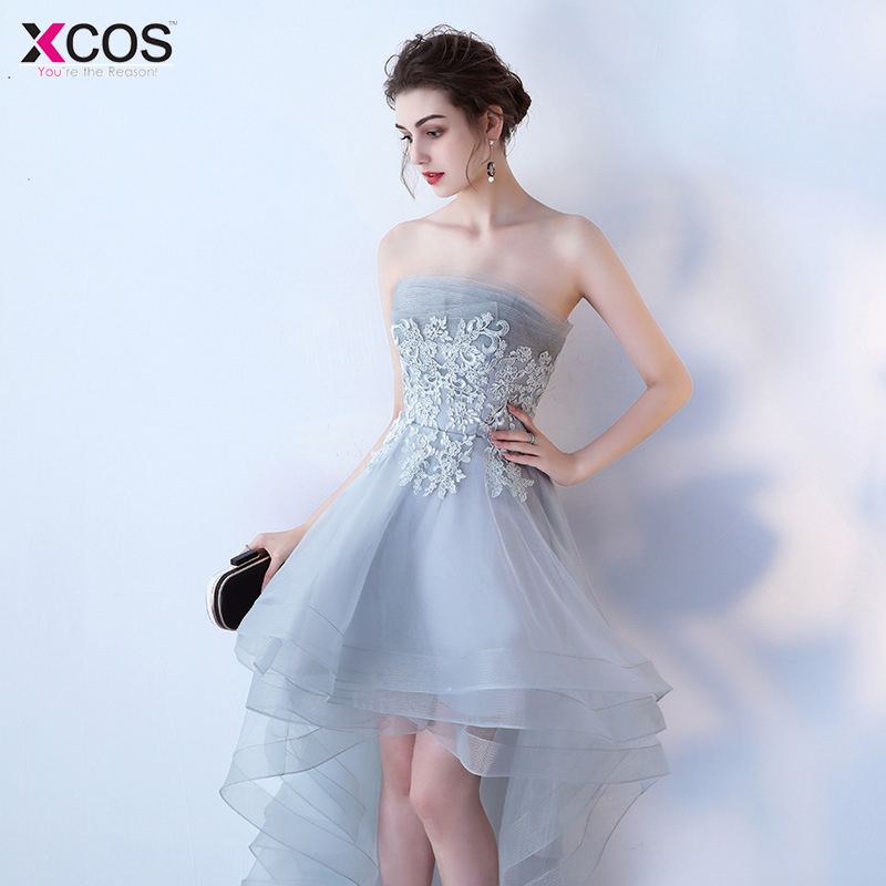 Grey Cocktail Dresses Tulle Women Girls Graduation Dress High Low Homecoming Appliques Above Knee Party Evening Dress Sleeveless