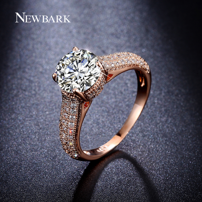 newbark high quality big cz half eternity rings rose gold and silver color prongs crown wedding jewelry rings for women NEWBARK High Quality Big CZ Half Eternity Rings Rose Gold And Silver Color Prongs Crown Wedding Jewelry Rings For Women