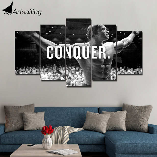 HD Print 5 Piece Canvas Art Arnold Schwarzenegger Conquer Black White  Painting Poster For Living Room